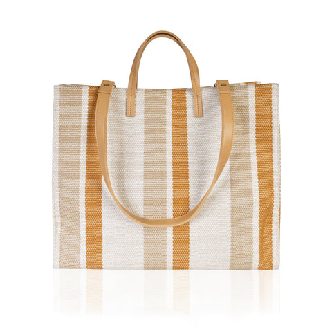 Woven Structured Shopper SQ-806 Brown