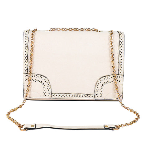 Sling - Handbag - Chain Handle - Laser Cut - Cream - All bags -  AB-H-1130 - All Bags Online