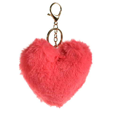 ACC-00001 - Pink Heart shaped Pom Pom Keychain - All Bags Online