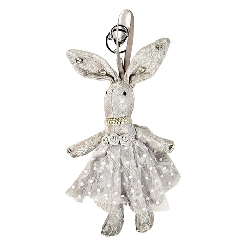ACC-00020 - Light Grey Lace Rabbit Keychain - All Bags Online