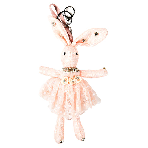 ACC-00020 - Light Peach Lace Rabbit Keychain - All Bags Online