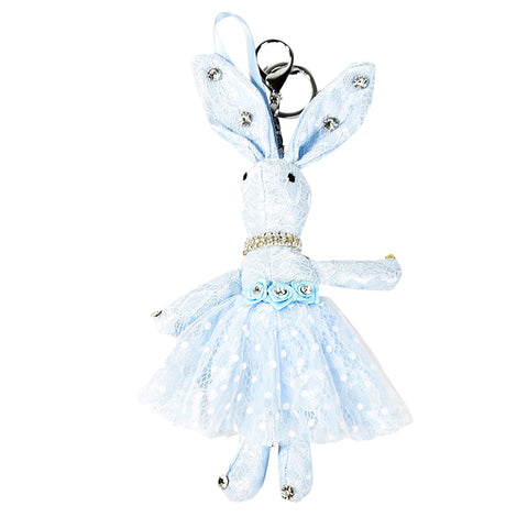 ACC-00020 - Light blue Lace Rabbit Keychain - All Bags Online
