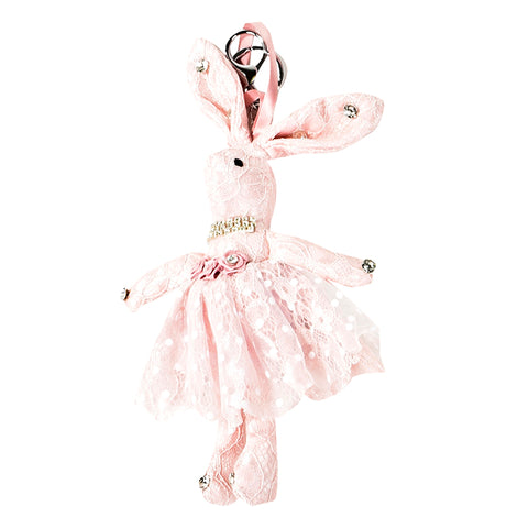ACC-00020 - Light Pink Lace Rabbit Keychain - All Bags Online