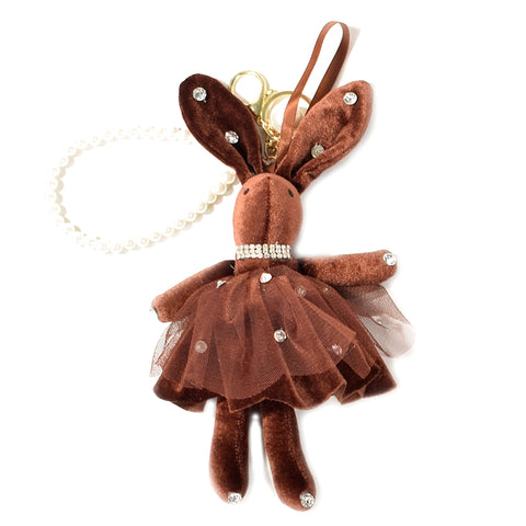ACC-00022 - Brown velvet Rabbit Keychain - All Bags Online