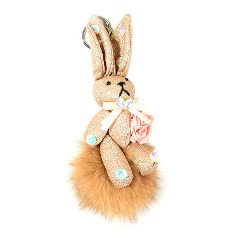 ACC-00024 - Light brown Rabbit Pom Pom - All Bags Online
