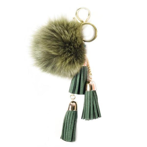 ACC-00025 - Green Pom Pom with Tassels - All Bags Online