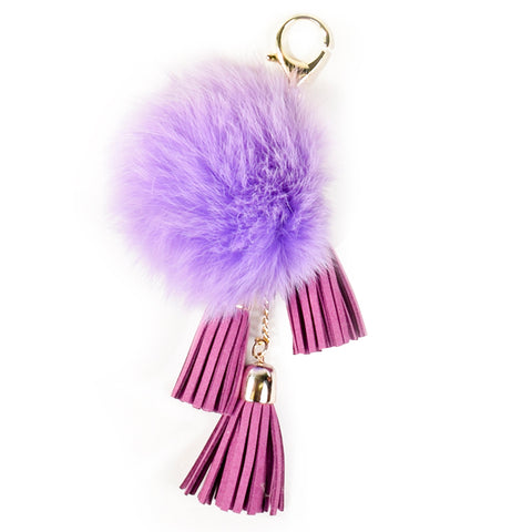 ACC-00025 - Purple Pom Pom with Tassels - All Bags Online