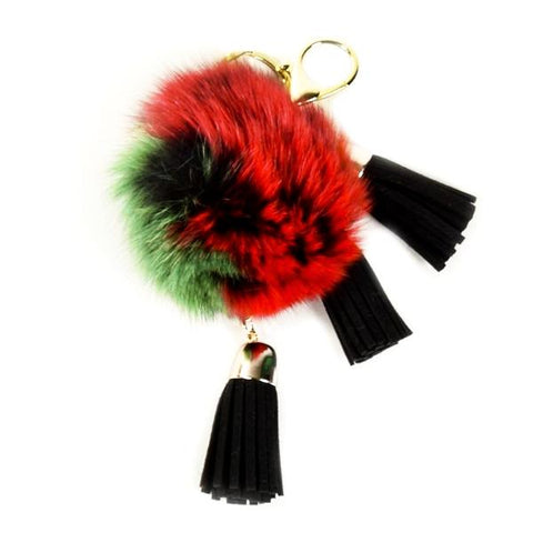 ACC-00025 - Black, Red & Green Pom Pom with Tassels - All Bags Online