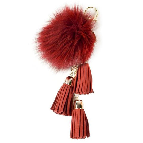 ACC-00025 - Red Pom Pom with Tassels - All Bags Online