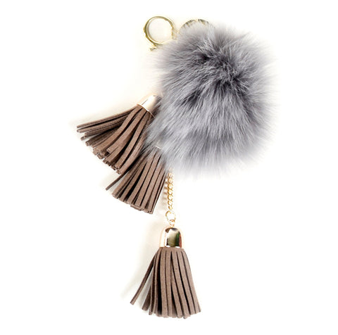 ACC-00025 - Grey Pom Pom with Taupe Tassels - All Bags Online