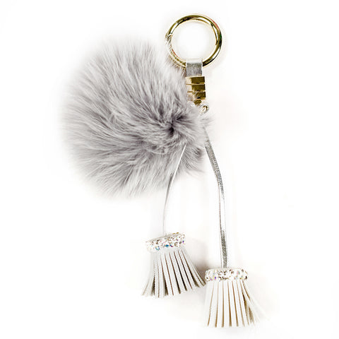 ACC-00026 Light Grey Pom Pom with Tassels - All Bags Online