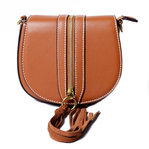 Tan Sling Bag with Tassel – AB-H-7637