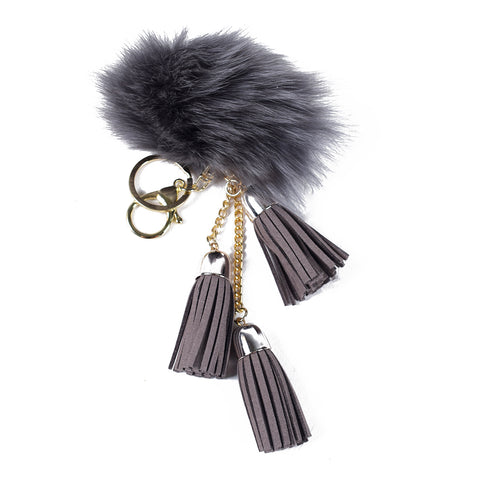 ACC-00025 - Grey Pom Pom with light Grey Tassels - All Bags Online