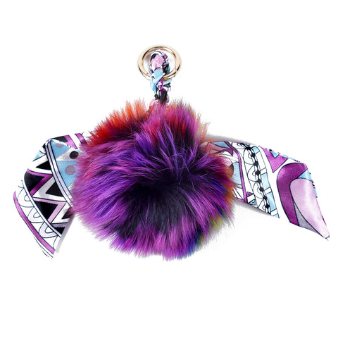 ACC-4076 Purple Multi Pom Pom with Small Scarf - All Bags Online