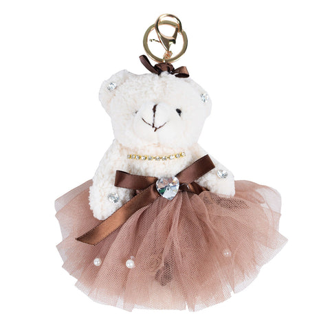 ACC-4090 - Cream an Brown Teddy Keychain - All Bags Online