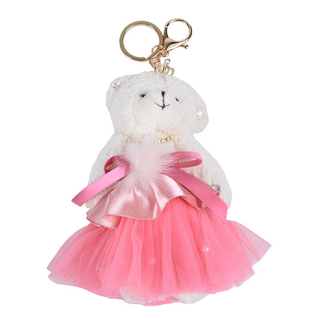 ACC-4090 - Cream an Pink Teddy Keychain - All Bags Online