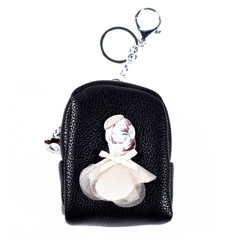 ACC-3057- Black Small Coin Purse Keychain