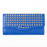 Trifold Wallet - Blue - studded - Smooth Texture - All Bags - JP-W-06 BLUE - All Bags Online