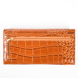 Trifold - Brown - Croc Skin-like - Patent - All Bags - JP-W-17 - All Bags Online