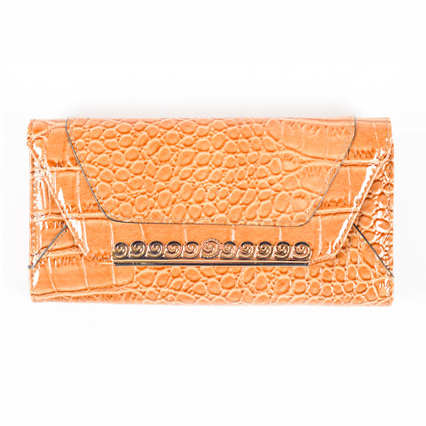 Trifold Wallet - Beige - Croc Skin-like - Patent - All Bags - JP-W-17 - All Bags Online
