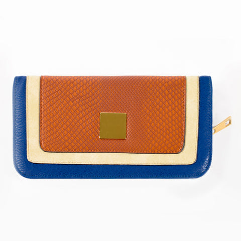 Zip-around Wallet - Blue Brown and Cream - PU Material - All Bags - JP-W-18 - All Bags Online