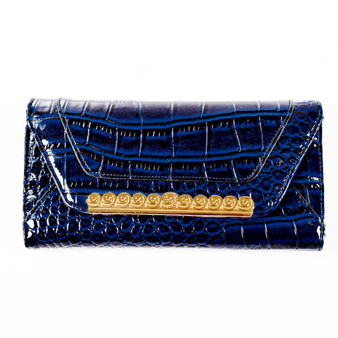 Trifold - Blue - Croc Skin-like - Patent - All Bags - JP-W-17 BLUE - All Bags Online