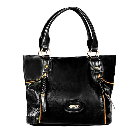 Black Handbag with Laser-cut Detail - OH-5017 BLACK - All Bags Online