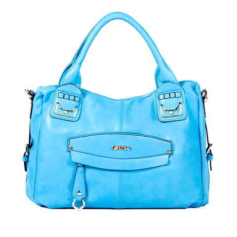 Blue Handbag with Smooth Material - OH-5018 BLUE - All Bags Online
