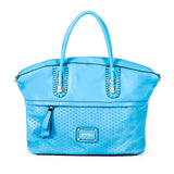 Blue Handbag with Laser-cut & Woven Detail  - OH-5020 BLUE - All Bags Online