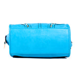 Blue Handbag with Light Gold Studs - OH-5024 BLUE - All Bags Online