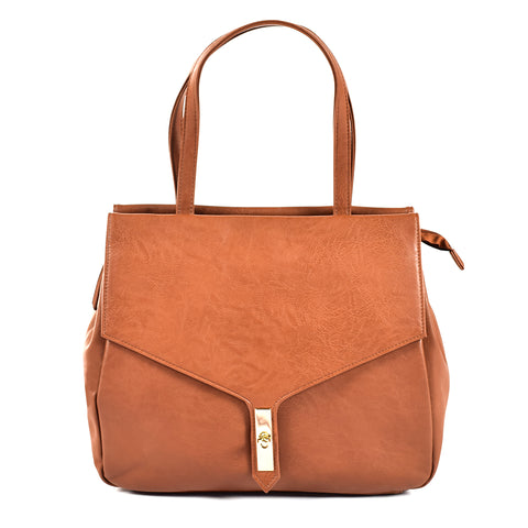 Brown Handbag with Smooth Texture - PB-H-60231 - All Bags Online