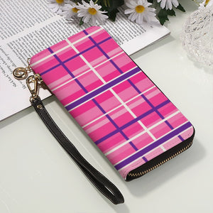 Men and Women's PU Plaid Leather Clutch Purse