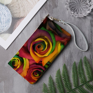 Colored Roses Women's Genuine Leather Clutch Purse