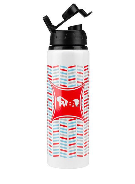 White Patterned PWBA Water Bottle