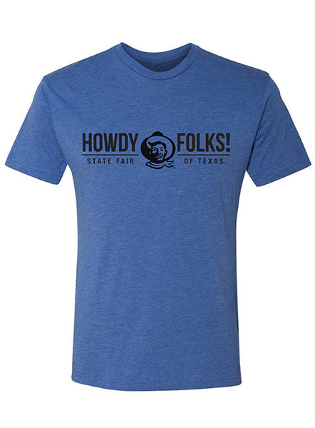 """Howdy Folks!""  State Fair of Texas ® Heather Royal T-Shirt"