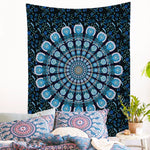 Indian Blue Peacock Mandala Tapestry | Hippie Wall Hanging & Bedspread