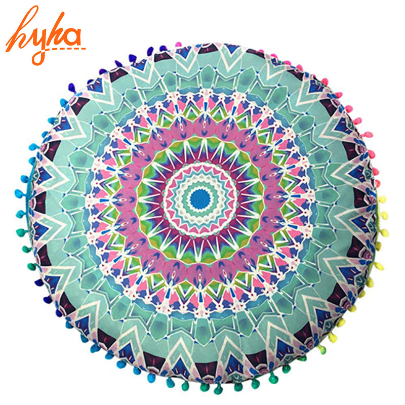 Hippie Mandala Rund Cushion Cover Pompom Bohemian Tassel Paisley Throw Pillow Cover Meditation Cushion Decorative Pillows