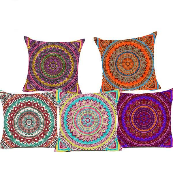 Mandala Polyester Cushion Cover Bohemian Geometric Pillow Case Home Decorative Pillow Cover For Sofa Car almofada