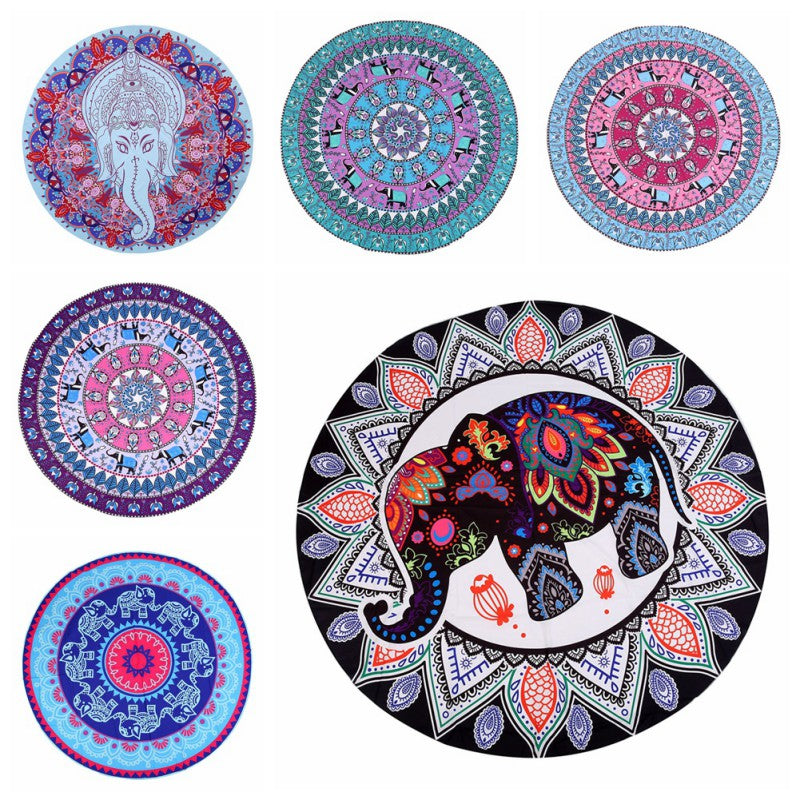 New Summer Beach Towel Elephant Round Flowers Mandala Wall Hanging Tapestry Girl Wrapped Skirt Tablecloth