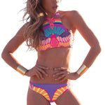 Painted Bikinis Indian Swimwear Women Sexy Large Size Bikinis Women Bathing Suit Women Bikini Set Women Swimming Suit YWC0208-5