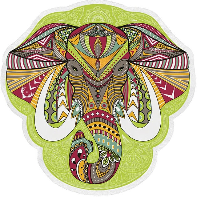 Elegant Elephant Mandala Tapestry For The Beach, Wall Hanging and Blanket