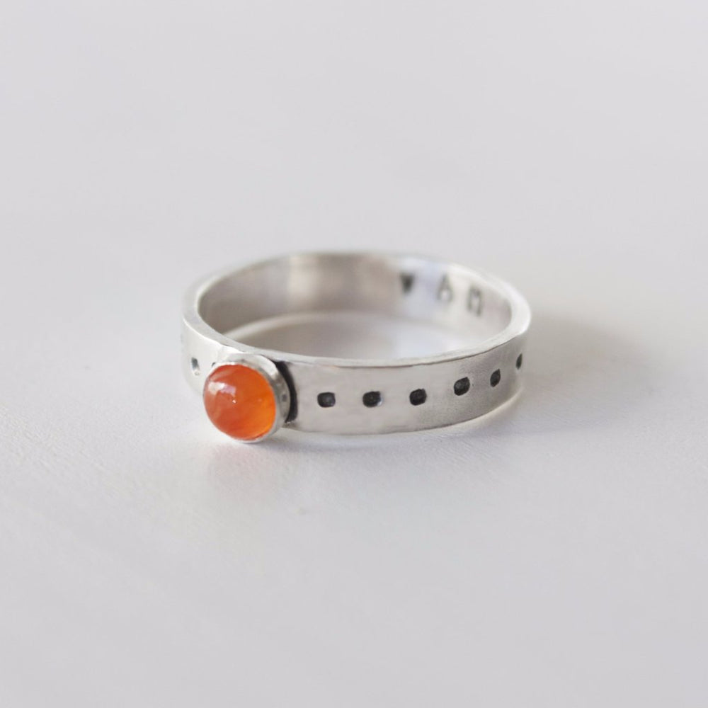 Sacral chakra stacking ring in sterling silver with carnelian stone