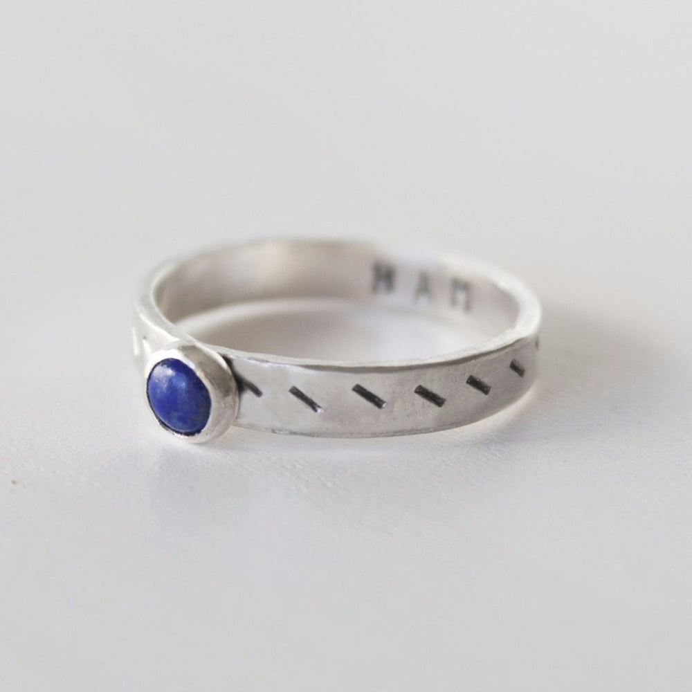Throat chakra stacking ring in sterling silver with lapis stone