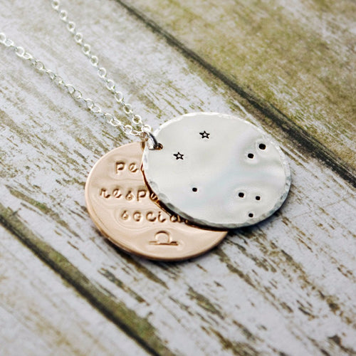Libra zodiac constellation necklace with traits in sterling silver and gold