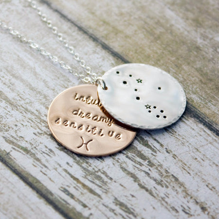 Taurus zodiac constellation necklace with traits in sterling silver and gold
