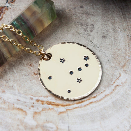Libra zodiac constellation necklace in gold