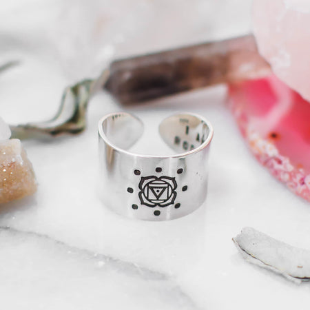 Throat Chakra ring with hidden mantra in sterling silver
