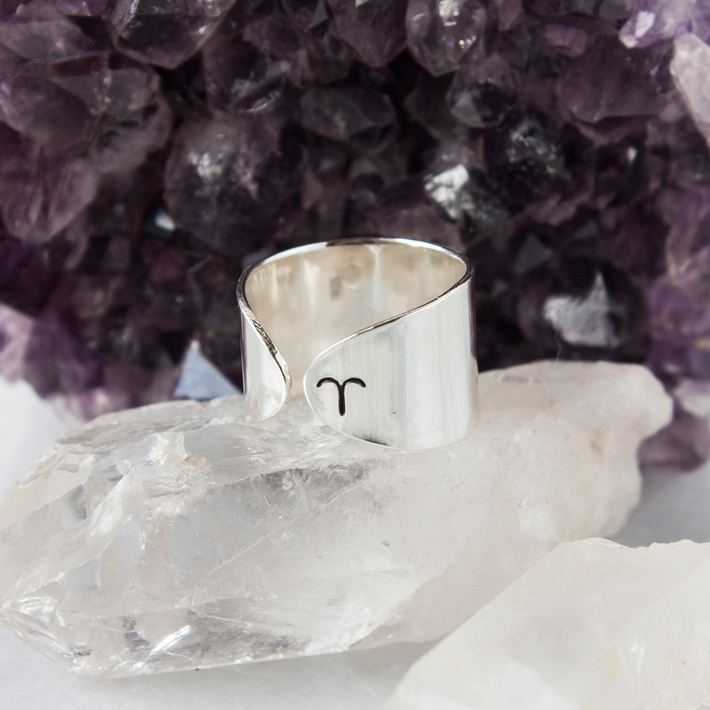 Aries zodiac constellation ring in Sterling silver or Aluminum