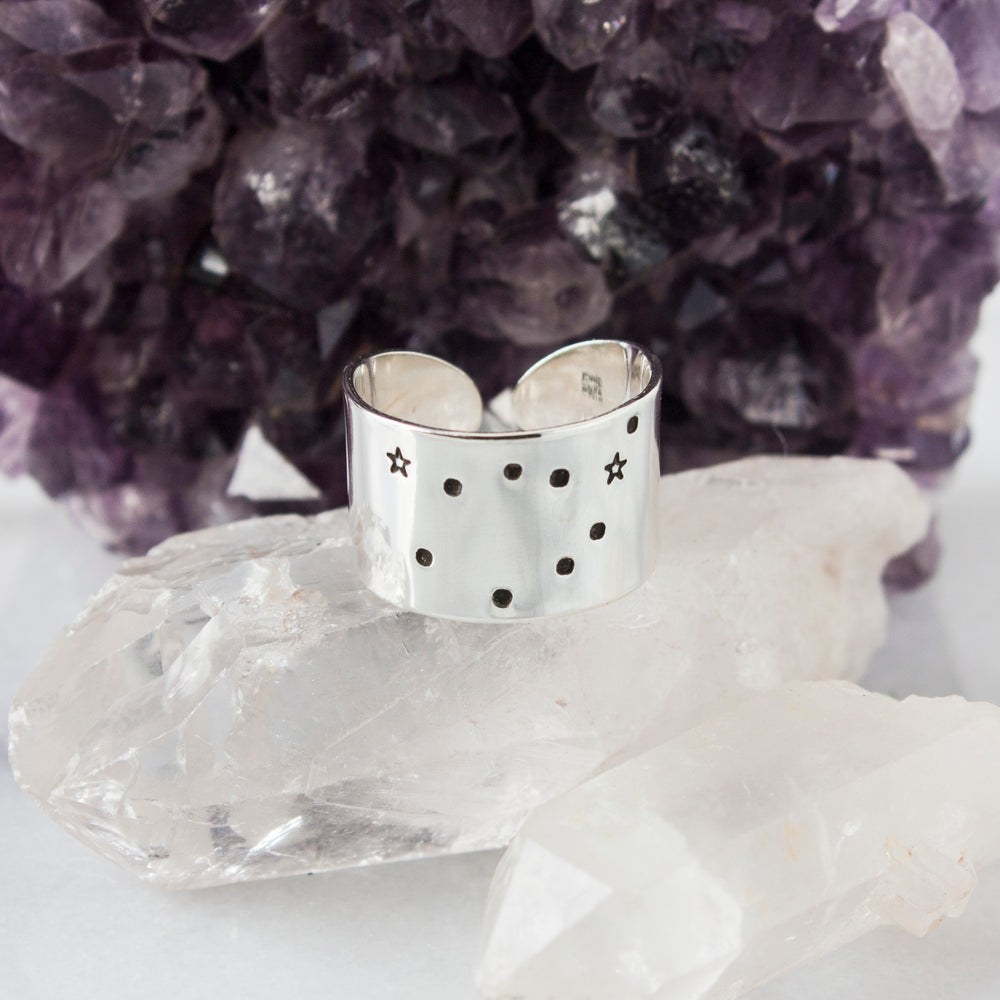 Capricorn zodiac constellation ring in Sterling silver or Aluminum