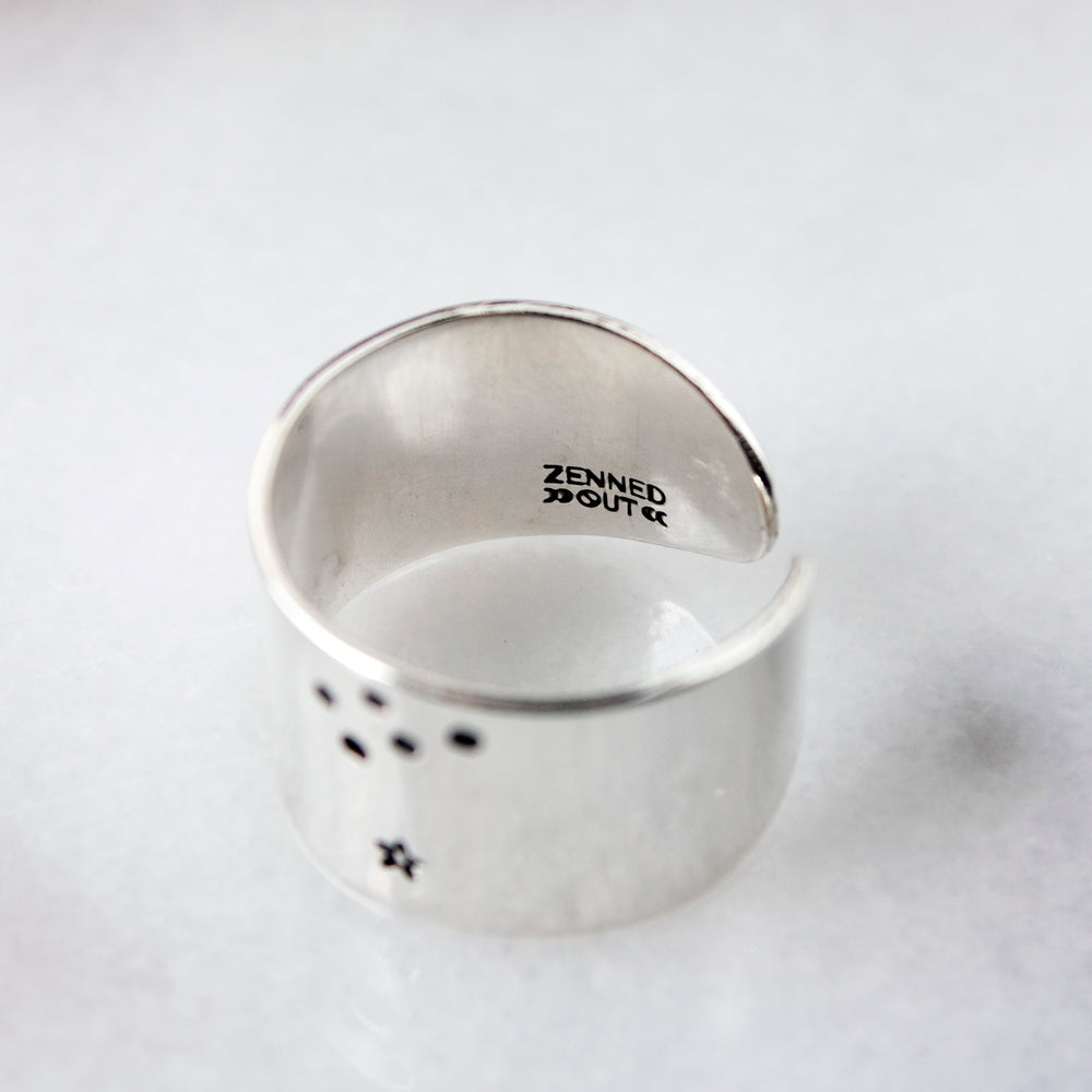 Aquarius zodiac constellation ring in Sterling silver or Aluminum